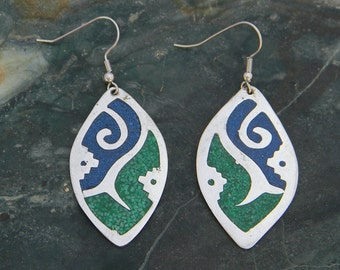 Mexico Alpaca Silver Vintage Dangle Earrings Crushed Blue & Green Stone Inlays A06