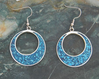 Mexico Alpaca Silver Vintage Round Dangle Earrings Crushed Turquoise Inlays A07