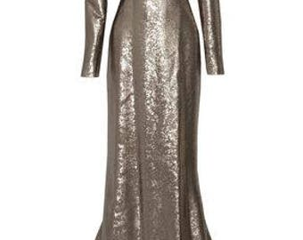 Kaufman Franco Silk Sequined Gown
