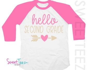 Second Grade Shirt Hip Shirt Arrow Swirly Shirt Girl Hello 2nd Grade Shirt Hot Pink Kids Hip Raglan Back to School Shirt Heart