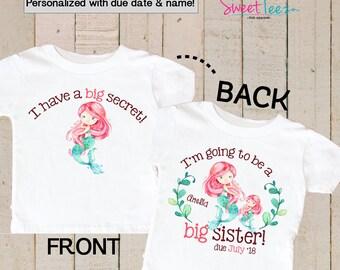 Big Sister Shirt Personalized Mermaid Shirt Sea Pink Big Sister Personalized Due Date and Name Front and back Sibling Announcement Girl