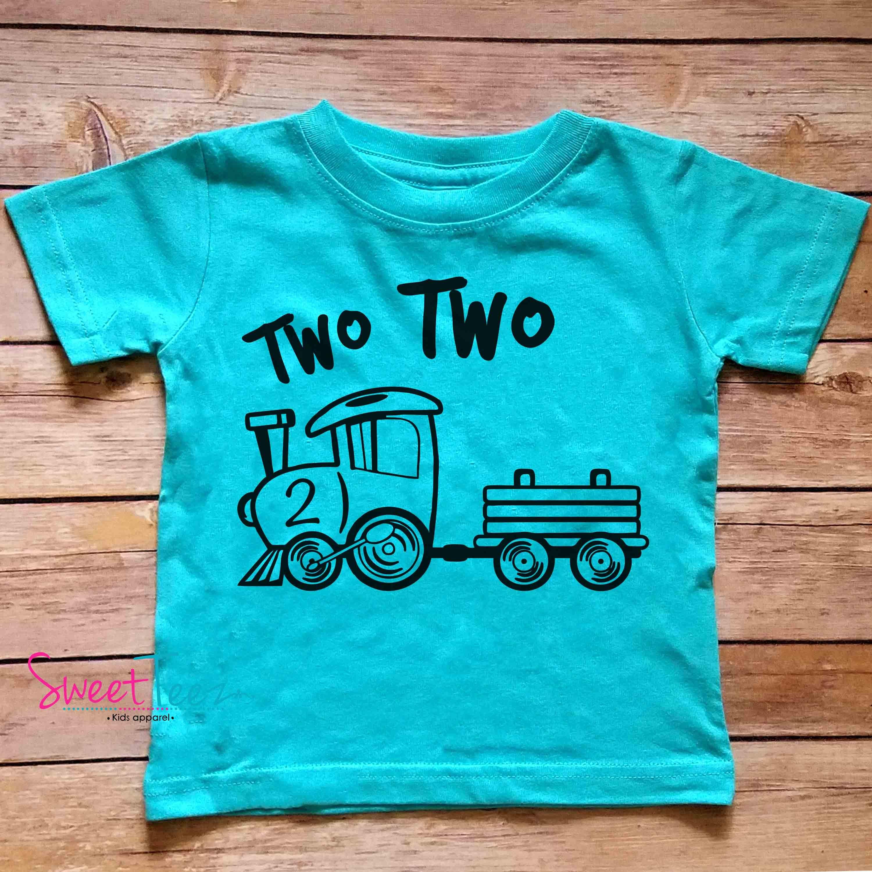 2nd Birthday Shirt Train Second Boy Heather Tshirt Kids Toddler Top