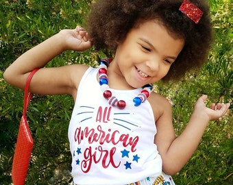 4th of July Shirt - Fourth of July Tank - Patriotic Tank Top - All American Girl - Girls 4th of July - Fourth of July Outfit - Baby Girl 4th