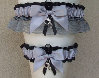 Corrections Officer Garter Set in Silver & Black with Handcuff Charms / Deputy Sheriff Police Cop State Trooper Correctional Law Enforcement