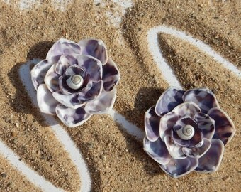 Purple and white striped seashell flower magnet or ornament, sea shell flower, beach magnet or ornament, seashell magnet or ornament
