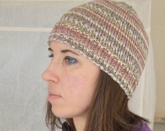 Hand knitted beanie hat, multicoloured hat, women's beanie, gift for her