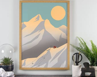 Autumn Mountains Art Print - A4, A3 Size - Alps Skiing Print - Sunset Landscape Poster - Scandi Style - Modern Minimal Winter Wall Art