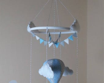 Fabric hot air balloon baby mobile tiny blue stars and grey spots
