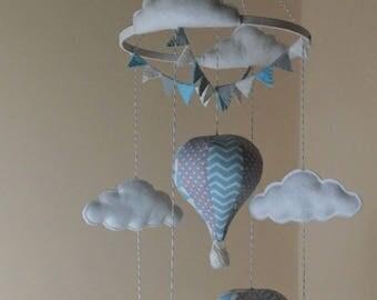 Blue and grey hot air balloon baby mobile Chevron, triangle, grey polka