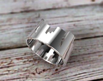 Sterling Silver Dallas Skyline Ring - Dallas Ring - Souvenir - Dallas Jewelry - Dallas Cityscape - Texas Gift - Dallas Gift - Cityscape Ring