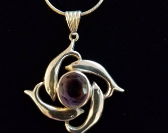 CP119 Sterling Silver Necklace with Sterling Silver Dolphin with Amerthyst Pendant