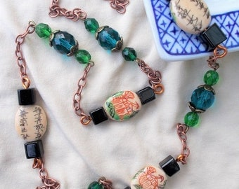 Large Chinese necklace, oval and blue porcelain beads green, black cubes, copper chain, Chinese necklace jewelry, vintage asian chinese