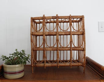 Vintage Rattan Wine Storage Rack / Woven Wicker Wine Rack / Bohemian Decor / Boho / Earthy Decor / Jungalow