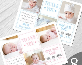 Personalised New Baby Photo Thank You Cards Boy Girl Birth Announcement Printed on 350gsm card NB8
