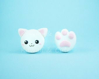 Earrings White Cat and Paw Print