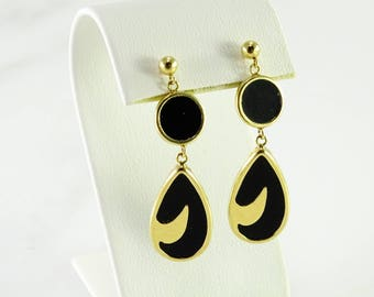 Onyx 14K Gold Dangle Pierced Earrings