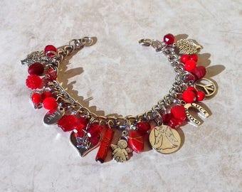 Angel bracelet, love bracelet gift for her, unique gift, mixed media red bracelet, heart bracelet, charm bracelet, gift for sister, bff gift