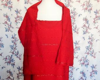 ladies full length red dress