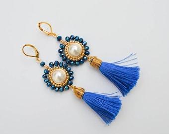 Blue Tassel Pearl Earrings