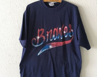 Vintage Braves Number 11 1990's 90's Braves Q's Mama Airbrushed T Shirt