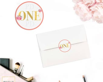 A Wild One Envelope Seals, Wild One Boho Floral Coral 1st Birthday Envelope Stickers, 026-A | Prisellie Designs