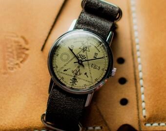 "Soviet watch ""Zim - Masonic watch"" 1980 release. Mechanical watch, Vintage watch, Mens watch vintage."