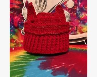 Handmade crochet devil hat