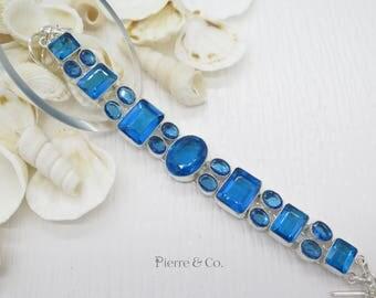 Blue Topaz Quartz Sterling Silver Bracelet