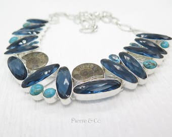 London Blue Topaz Ammonite Fossil Turquoise Sterling Silver Necklace
