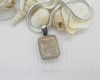 Antique Bali Fossil Sterling Silver Pendant and Chain