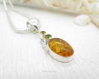 Baltic Amber ad Citrine Sterling Silver Pendant and Chain