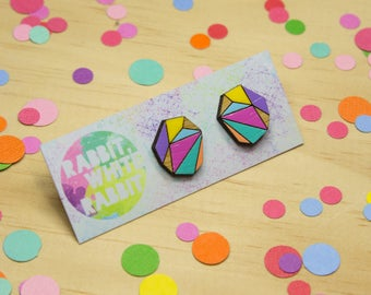 Multi Colour Geo Stud Earrings