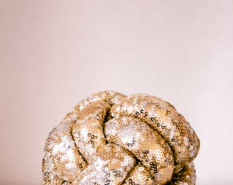 GOLD Knot Pillow with sequins , Sphere Ball pillows, decorative cushion, soft ball