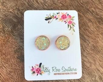 12mm champagne yellow druzy earrings,druzy studs, druzy earrings,  rose gold druzy, rose gold earrings