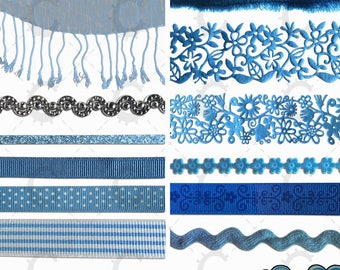 Blue Ribbon and Lace Overlays - Photographic Clipart Collection