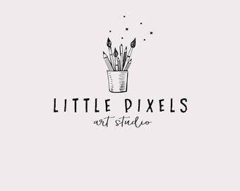 Artist logo design - Paint brushes and pencils logo - Peach watercolor logo - Paint shop logo - Premade logo design - watercolor splotch