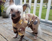 HEDGEHOGS FLEECE Dog PAJAMAS Your Choice of color for Cuffs and Collar Onesie by ComfyStyles Dog Jumper PJs Pyjamas