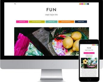 Premade Blogger Template - Responsive Blogger Template - Modern Blogger Template - Colorful Template - Bright Blogger Template - Fun Theme