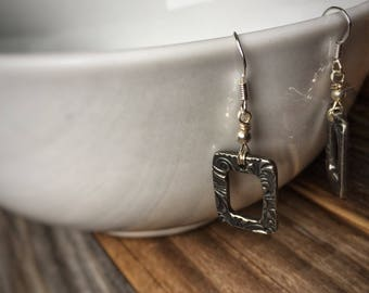 Etched Frame Earrings
