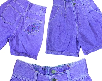 Purple denim shorts | Etsy UK