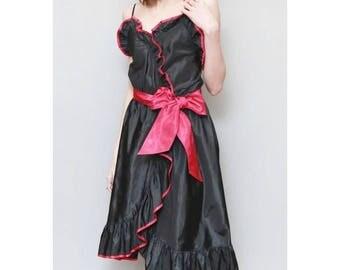 Vintage 1980's Black & Pink Ruffled Roland Klein Midi Dress