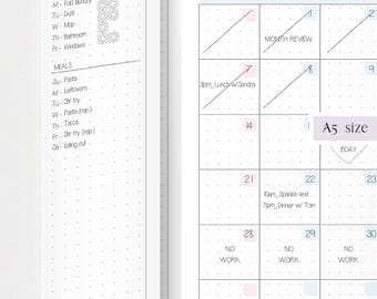 MO2P  FOLDOUT undated · 2 printable pages · A5 · Monthly planner · Month on 2 pages · Fold Out · Monday and Sunday start · Folding planner