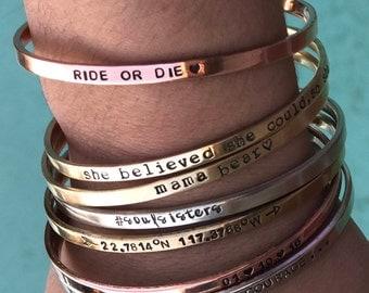 Create YOUR Own Bracelet Friendship Bracelet Silver Gift idea Custom Bracelet Personalized Jewelry Cuff Bracelet Stamped Best Friend Jewelry