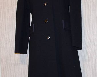 DEL-SHIRE Original  Black American  Wool Coat Mink Collar Women Size:8  BEAUTIFUL!!!!