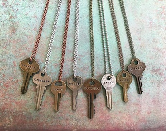 Key Necklace | Many Styles & Words, Repurposed Key, Vintage, Handstamped, Custom Made Necklace