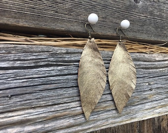 Gold Leather Earrings. Upcycled metallic leather earrings. Repurposed leather. Boho jewelry. Bohemian earrings. Feather Dangle Avian Designs