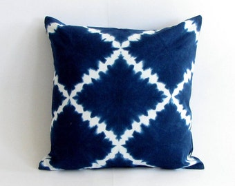 18 inch square.Indigo Handmade Tie & Dye, Shibori pillow cover,cushion cover,throw pillow cover,Boho.Bohemian,pillowcase