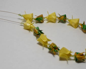 Yellow tulips Origami necklace