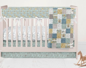 Bears Crib Bedding Set- Woodland Nursery Decor- Fitted Crib Sheet - Rustic Crib Skirt - Pink Bumpers- Rail Guard Cover- Minky Baby Blanket