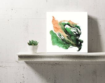 Modern Leaves Wall Art,Artist-Signed,Giclee Fine Art Print,Abstract Acrylic Painting,Contemporary Art,Home Decor,Green,Nature, 8x8 - 36x36